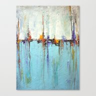 Abstract White And Blue … Canvas Print