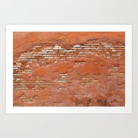 Orange Brick Wall Art Print