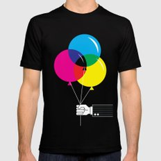 CMYK Balloon's  SMALL Black Mens Fitted Tee