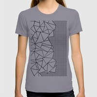 Abstraction Outline Grid on Side White Womens Fitted Tee Slate SMALL