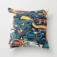 Atomic Blastoise  Throw Pillow