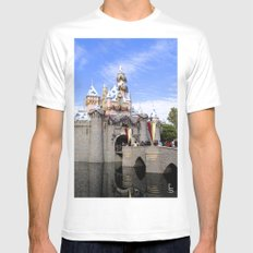 Sleeping Beauty's Holiday Castle White Mens Fitted Tee SMALL