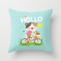 Cat On A Bike Throw Pillow