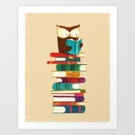 Owl Reading Rainbow Art Print