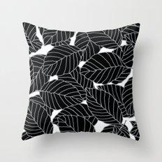Sweet Leafs: Black White Throw Pillow