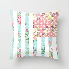 Flower Flag USA Throw Pillow