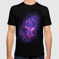 Pink Purple Crab Nebula Mens Fitted Tee Black SMALL