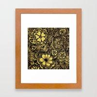Hippy Happy Golden Flower power Framed Art Print