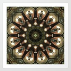 Rusty Alien Head Mandala Art Print