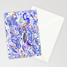 Purple Gold leaf Paisley Stationery Cards