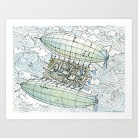 Flying over the montains Art Print