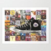 90s Nostalgia - Pearl Jam / Nirvana / Radiohead / Smashing Pumpkins / Converse Art Print