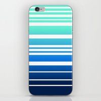 Bay Ombre Stripe: Mint Navy iPhone & iPod Skin