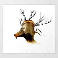 Lady And Her Stag. Art Print