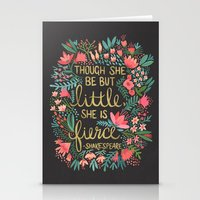 typography Stationery Cards featuring Little & Fierce on Charcoal by Cat Coquillette