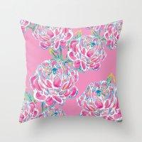 Peony : Pink Throw Pillow