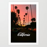 california Art Prints featuring California by Tumblr Fashion