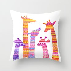 Giraffe Silhouettes in Colorful Tribal Print Throw Pillow