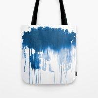 Paint 1 - indigo blue drip abstract painting modern minimal trendy home decor dorm college art Tote Bag