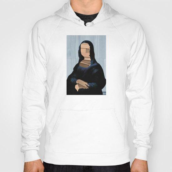 Mona Lisa - blue shining WoodCut Collage Hoody