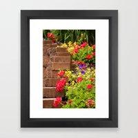 Flower Stairs Framed Art Print