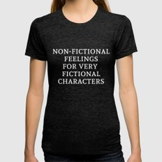 Non-Fictional Feelings F… Womens Fitted Tee Tri-Black SMALL