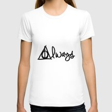 Always, Deathly Hallows,… Womens Fitted Tee White SMALL