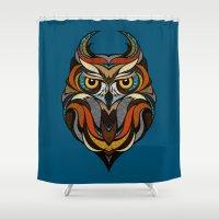 Oldschool Owl Shower Curtain