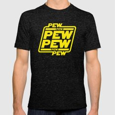 Pew Pew Pew Mens Fitted Tee Tri-Black SMALL