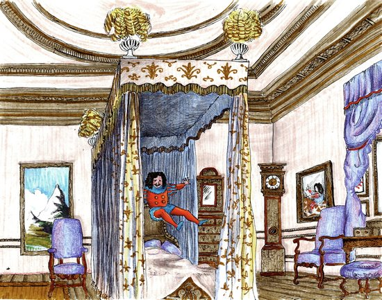 King Charles II jumping on his bed.  Art Print