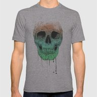 Pop Art Skull  Mens Fitted Tee Athletic Grey SMALL