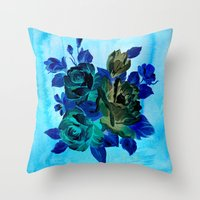Vintage Blue Flowers  Throw Pillow