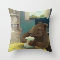 Little Bear and the cookie jar Throw Pillow