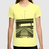 Nalley train tracks Womens Fitted Tee Lemon SMALL