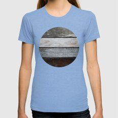Wood Texture Womens Fitted Tee Tri-Blue SMALL