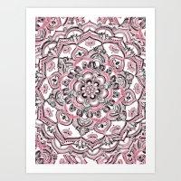 Magical Mandala in Monochrome + Pink Art Print