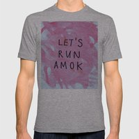 let's run amok Mens Fitted Tee Athletic Grey SMALL