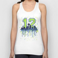 Seattle 12th Man Art Skyline Watercolor  Unisex Tank Top