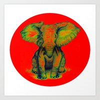 Elephant with Tiny Bird Art Print