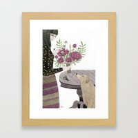 Girl, Her Dog And Bouque… Framed Art Print