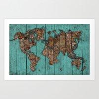 Wood Map Art Print