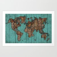 Wood Map Art Print