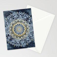 Blue Floral Mandala Stationery Cards