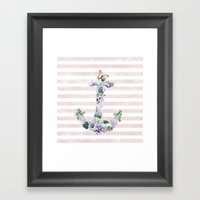 FLORAL ANCHOR IN PINK Framed Art Print