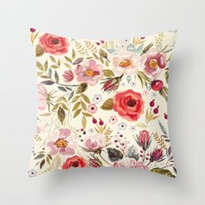 Floral Theme Throw Pillow