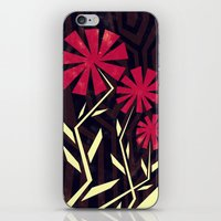 Red Flowers On Wood iPhone & iPod Skin