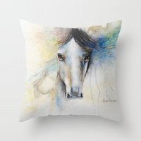 Horse Watercolor Painting Throw Pillow