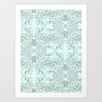Dotted Floral Scroll in Mint and Grey Art Print
