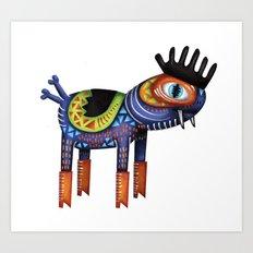Turtle Chicken Horse Art Print