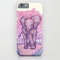 Cute Baby Elephant in pink, purple & blue iPhone 6 Slim Case